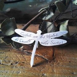 """Be careful with fears"" Dragon-fly silver Pendant"