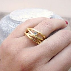 Gold-plated silver ring and diamond ATW