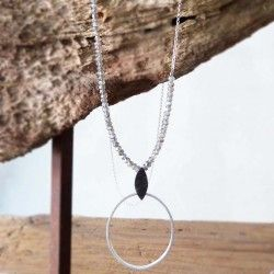 Silver circle LLUERNA necklace