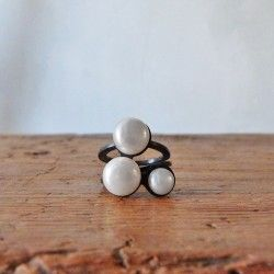 Silver ring with pearls BOVARY