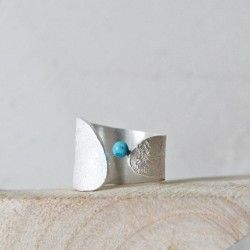 Wide Sea silver ring