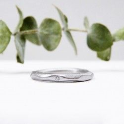 Silver and diamond facet ring