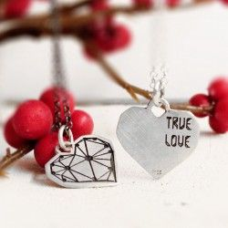 Penjoll cor plata TRUE LOVE