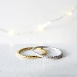 White gold textured wedding ring