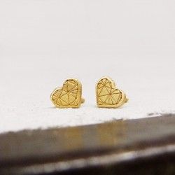 Yellow gold heart earrings TRUE LOVE