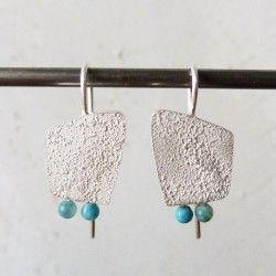 Silver and hemimorphite medium earrings SEA