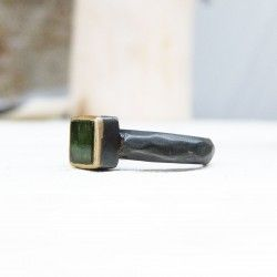 Gold ring, oxidized silver and tourmaline