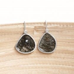 Silver, tourmaline quartz and diamond earrings