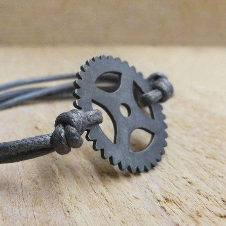 Black silver bracelet with cord BIKE