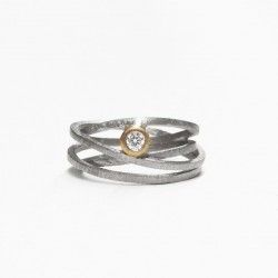 Silver, gold and diamond ATW ring