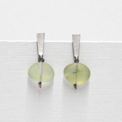 Silver and green agate earrings