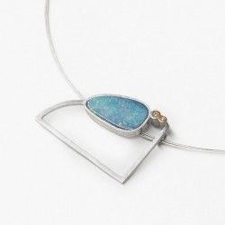 Blue opal, diamonds, silver and gold pendant