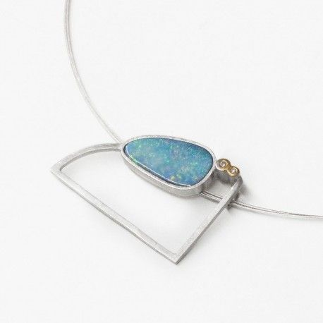 Blue opal pendant, diamonds and silver